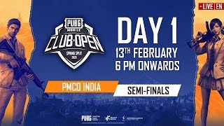 [EN] PMCO India Semi Finals Day 1   Spring Split A & B   PUBG MOBILE CLUB OPEN 2020