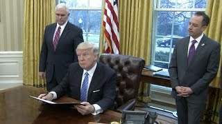 President Trump signs executive orders on trade, abortion, jobs
