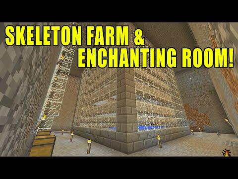 Minecraft Xbox - Survival Island Ep 3 Skeleton XP Grinder Farm & Enchanting Room!