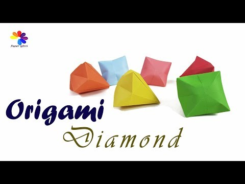 How To Make A Origami Diamond - DIY A Simple & Beautiful Paper Diamond Tutorial for beginners & kids