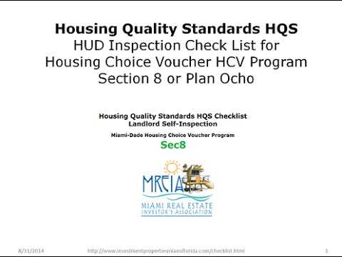 Section 8 Housing Quality Standards Checklist Part I
