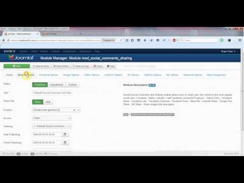 Joomla social share module - Settings