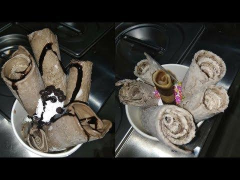 Ice Cream Rolls RECIPE | Ice Cream Roll With Chocolate | How to make Ice Cream Rolls at Home