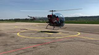 Safari 400 Helicopter startup and take off from LSZG (Grenchen)