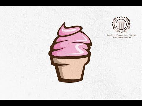 Create ice cream Logo Design in Adobe illustrator CS6 - How to Design Simple logo with pen tool