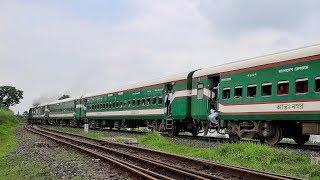 LHB Train Chittra Express leading by BR ALCO 6522 WDM 3A Locomotive- Bangladesh Railway