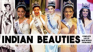 Indian Beauties - Complete list of Miss World from India | Crowning moment and Best answers