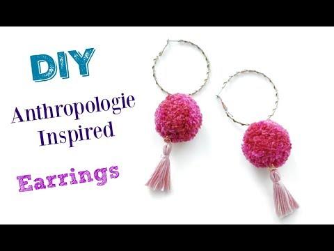 How to Make Anthropologie Inspired Pom Pom Tassel Earrings