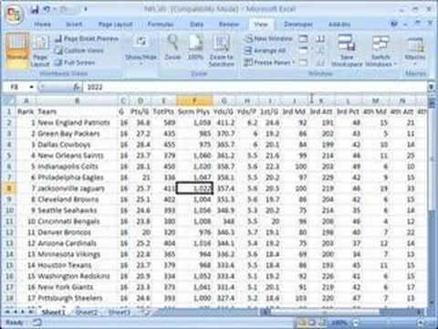 Split panes in Excel