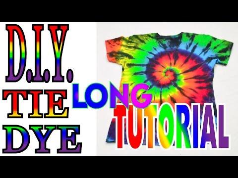 How to Tie Dye a Rainbow & Black Spiral Shirt [Long Tutorial] #37