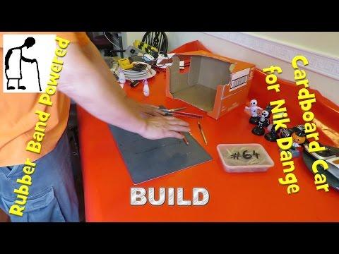Rubber band powered Cardboard Car for Nik Dange BUILD