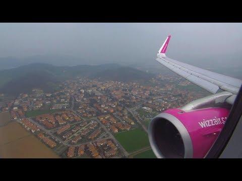 Wizzair Airbus A321 Wing View Landing at Milan Bergamo Airport BGY [Full HD]