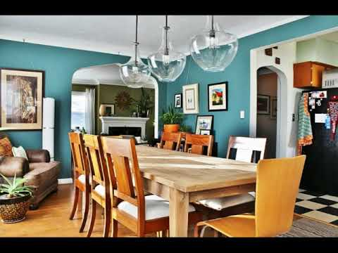 Blue and Green Living Room Dining Room Combo