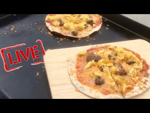 BLACKSTONE BREAKFAST TORTILLA PIZZA ON A FLAT TOP GRIDDLE | #GoodMorning 157 Vlog