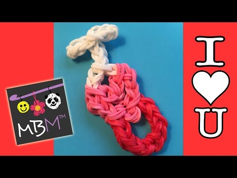Rainbow Loom Charm for Valentine's Day - I HEART YOU, I LOVE YOU New Design