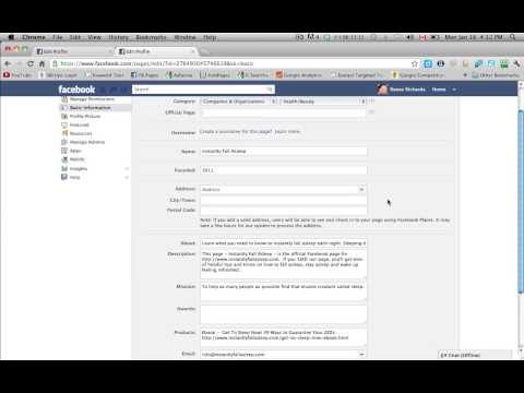 Filling In Basic Info For Facebook Business Page