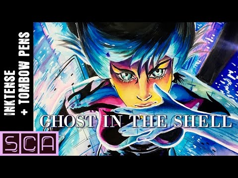 TOMBOW Dual Brush Pens + INKTENSE PENCILS [Ghost In The Shell Painting]