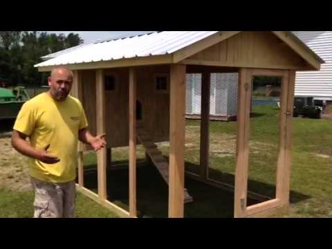 Chicken coop with solid roof run