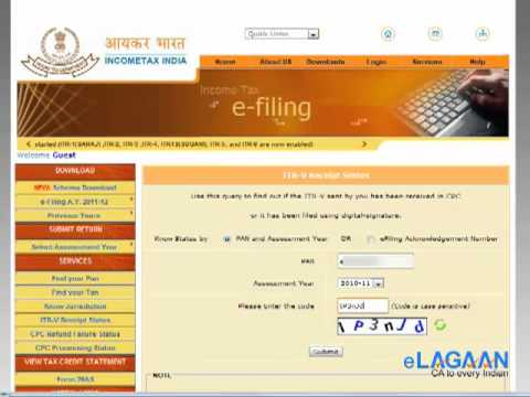 Check receipt status of your Income Tax Returns