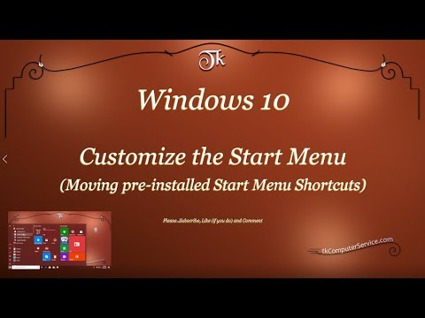 Windows 10 :  Customize the Start Menu (Moving pre-installed Start Menu Shortcuts)