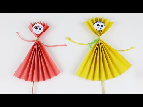 Origami Red and Yellow Paper Dolls | How to Make Paper Doll | Easy Boy and Girl Origami Dolls
