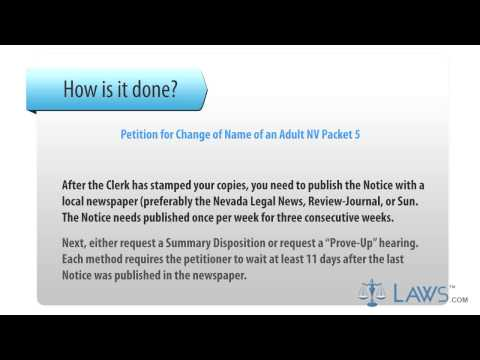 Form NV Packet 5 - Petition for Change of Name of an Adult