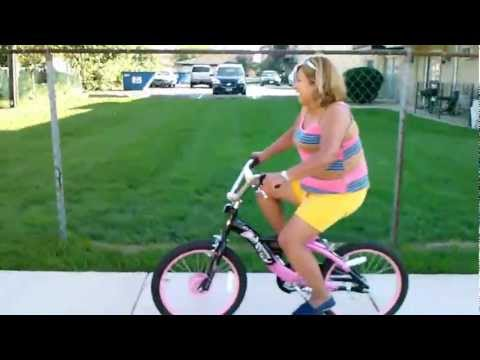 Funny video grandma falling off bike