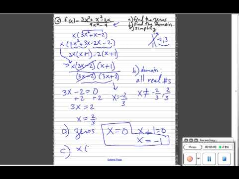 simplify rational expression, find domain and zeros