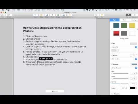 Color background in Apple's  iWork Pages 5