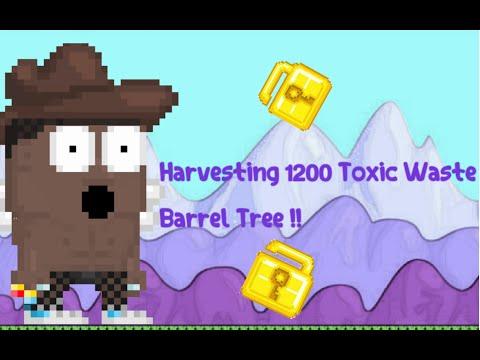 Growtopia-Harvesting 1200 Toxic Waste Barrel Tree !!-[TURKCE]