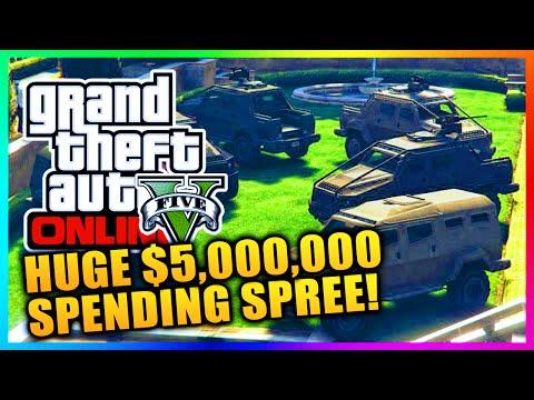 GTA 5 Heists DLC Online - HUGE $5,000,000 SPENDING SPREE! BUYING HEIST CARS, GEAR & MORE! (GTA V)