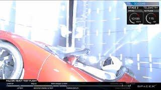 Falcon Heavy Fairing Deploy Moment - David Bowie Life on Mars