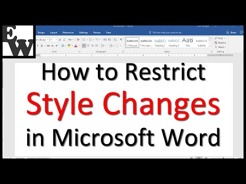 How to Restrict Style Changes in Microsoft Word