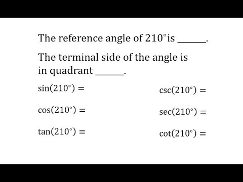 Find 6 Trig Function Values of 210 Degrees (Reference Triangle and Unit Circle)
