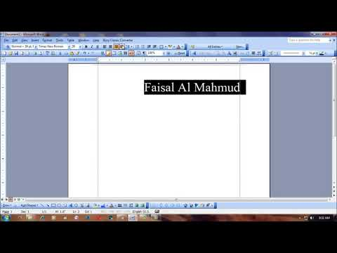 how to make center text in page of ms word