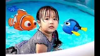 Swimming Fun With Nemo and Dory - Kids Children Toddlers Playing In The Pool