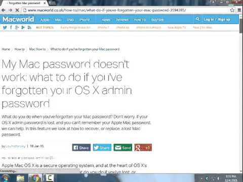My Mac password doesn't work : What to do if you've forgetten your OS X admin password