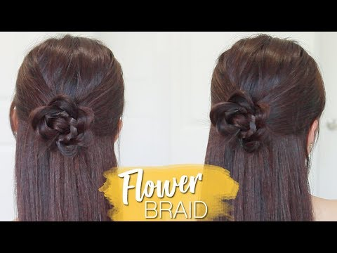 Flower Braid Half Updo Hairstyle | Hair Tutorial