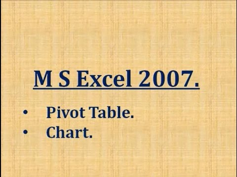 Pivot Table  and Chart in MS Excel 2007 in hindi