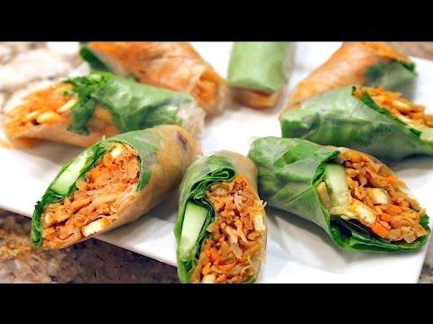 How to make Fresh Spring Rolls (Vegan / Vegetarian) - Bì Cuốn Chay - Fresh Summer Rolls Recipe