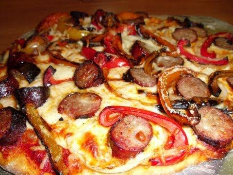 Bratwurst, Pepper & Onion Grilled Pizza
