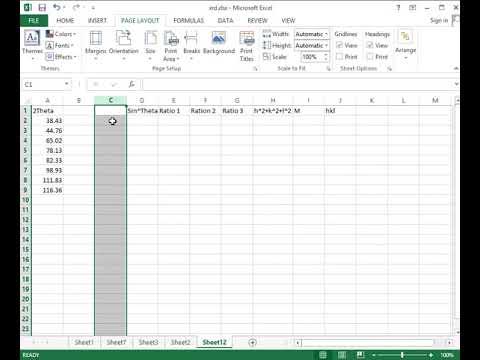 Indexing XRD peaks using excel