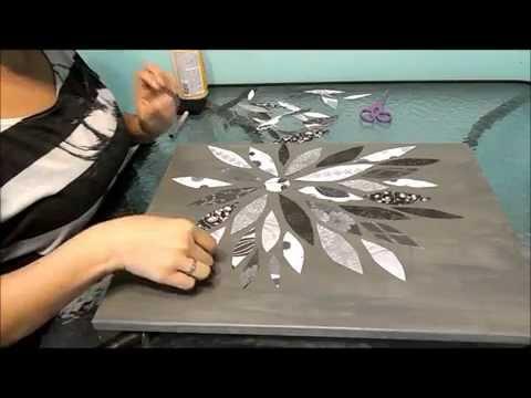 Flower Canvas-Scrapbook Paper-DIY