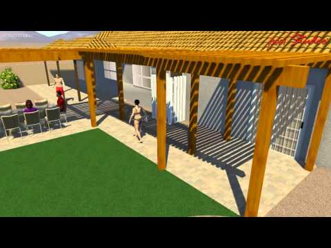 BROWN - Extended paver patio with pergola and firepit