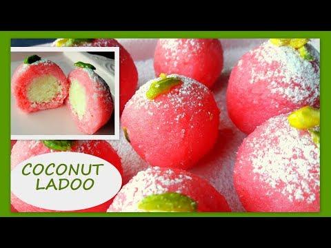 coconut ladoo in kannada - ತೆಂಗಿನ ಲಾಡೂ -  rose coconut laddu recipe - coconut laddu in 5 mins