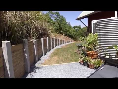 Sleeper retaining wall concrete Posts DIY Project
