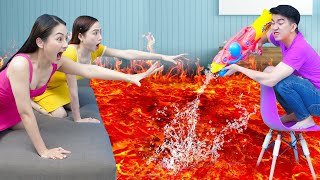 Insane The Floor Is Lava Challenge For 24 Hours | Funny Extreme Challenge And Funny Pranks By T-FUN