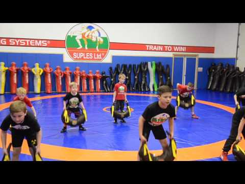 Functional Training with the Bulgarian Bag by Youth wrestlers from Suples