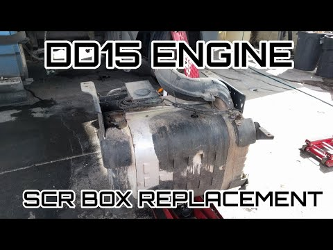 Freightliner Cascadia DD13 DD15 engine SCR box DOC DPF remove replacement DEF light flashing