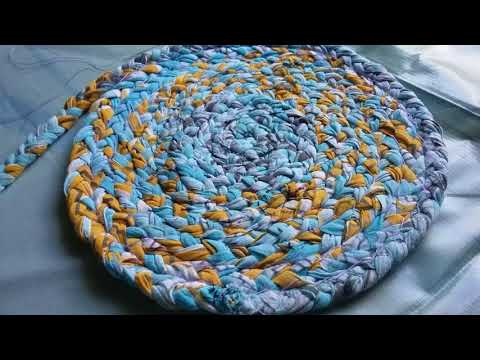 Old clothes recycling ideas l how to make Door mat/rug/table mat/carpet ,how to make simple rag rugs